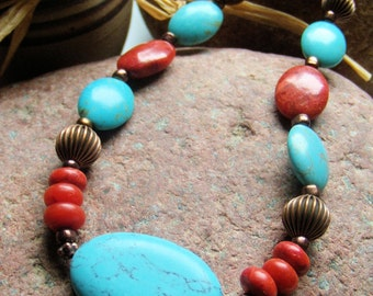 Turquoise and Copper Necklace, Handcrafted Jewelry, Gemstone Jewelry, Boho Jewelry, Western Style, Turquoise and Red, Red Coral Necklace