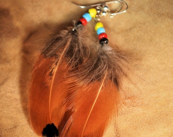 Feather Earrings, Native Style Jewelry, Feather Jewelry, Handcrafted Jewelry, Boho Jewelry, Tribal Jewelry, Rust and Black, Dangle Earrings