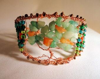 Carnelian Bracelet Cuff, Aventurine Bracelet Cuff, Copper Wire Wrap Cuff, Fall Bracelet, Tree Cuff, Handcrafted Jewelry, Boho Jewelry