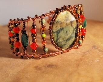 Mossy Green Jasper and Copper Bracelet Cuff, Green and Orange, Wire Wrap Cuff, Handcrafted Jewelry, Native Inspired, Copper Wire Wrap