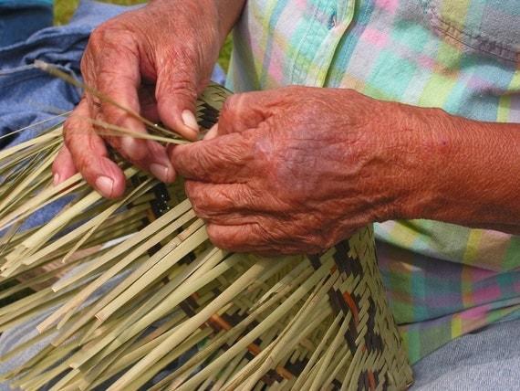Emma's Hands, Basket Weaving, Fine Art Photography, Matted Photography, Cherokee River Cane Basket, Home Decor, Rustic Decor