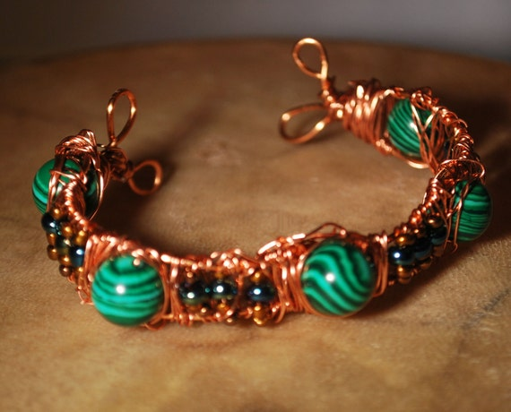 Malachite Copper Wire Wrapped Peacock Accent Cuff