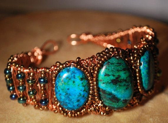 Chrysocolla Spring Trio Copper Rustic WireWrapped Bracelet Cuff
