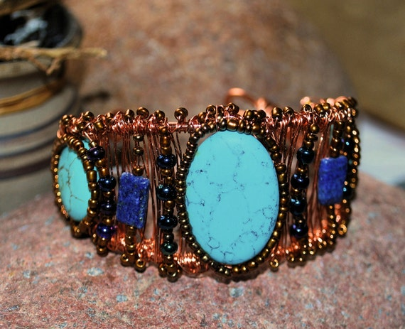 Wire Wrapped Cuff, Turquoise and Lapis, Copper Jewelry, Handcrafted Jewelry, Gemstone Jewelry, Native Style Jewelry, Boho Jewelry