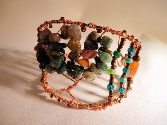 Tree of Life Bracelet Cuff, Jasper and Carnelian, Copper Wire Wrap Cuff, Handcrafted Jewelry, Boho Cuff, Woodland Cuff