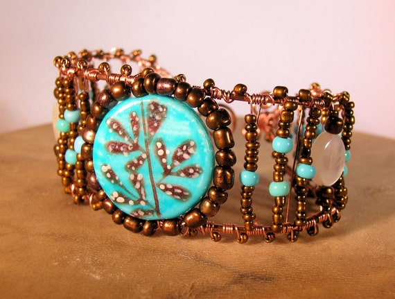 Handpainted Ceramic Focal Moonstone Turquoise Copper Wirewrapped Bracelet Cuff