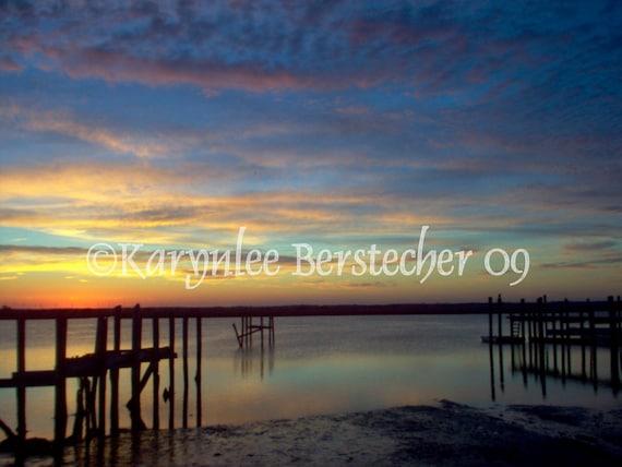 Sunset Dreams---Nature Shore Landscape Pier Fine Art Matted Photography Home Office Decor