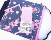 Knitting Gift Set - Project Bag Drawstring WIP - 1 Large Bag 1 Pattern Wallet 3 pattern magnets - Tipsy Pink Elephant
