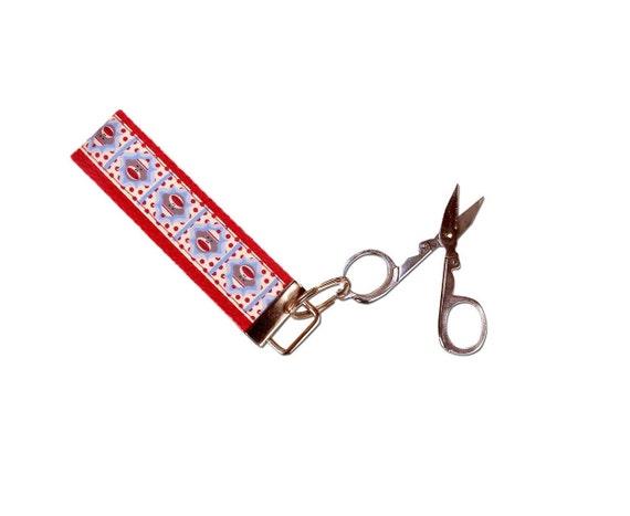 Wristlet Travel Sew Scissor Key Fob Key Lanyard Chain - Sock Monkey