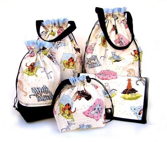 Knitting Gift Set : Knitting gift set project bag drawstring wip of bags