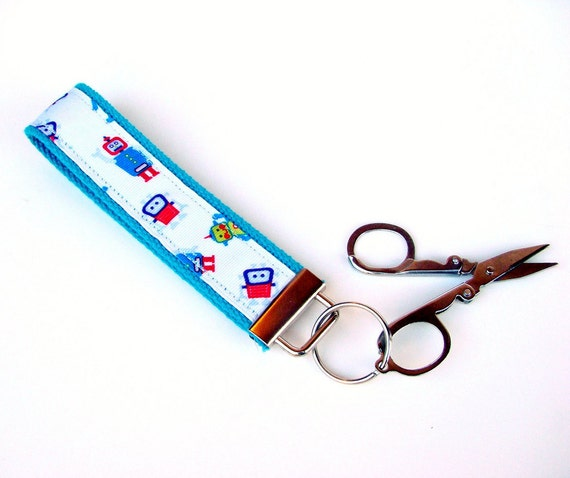 Wristlet Travel Sew Scissor Key Fob Key Lanyard Chain - Geek Nerd Fun Robot