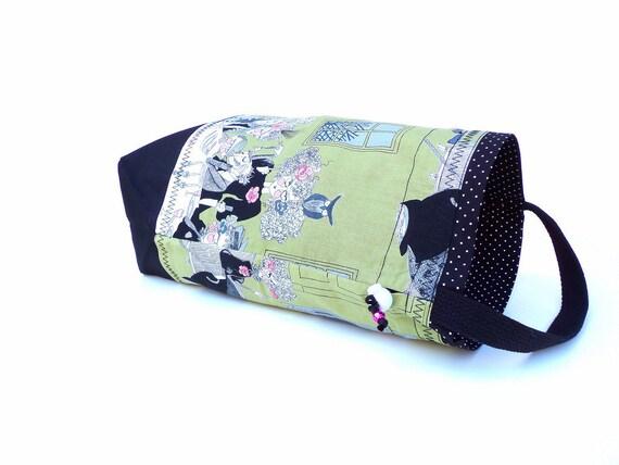 NEW Medium Knitting Project Bag Crochet Drawstring Tote WIP Bag Cord Lock -  - Ghastlies Nights Green Goth