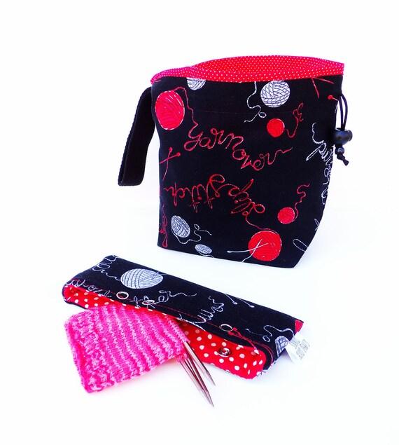 Knitting Gift Set - NEW Knitting Bag Crochet Project Bag Drawstring WIP & Needle Nook - Set of 2 - Knit Purl Lit Black