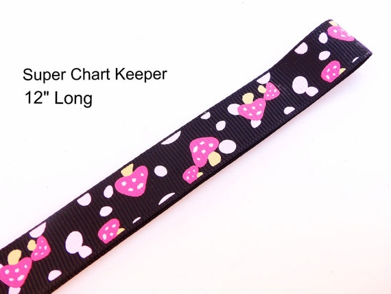 "NEW Extra Large Pattern Magnet - Landsape Chart Pattern Keeper Magnet Bookmark 12"" Long - Knitting Crochet Supplies - Black Pink Mushrooms"
