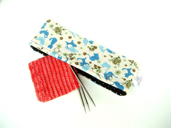 Needle Nook - Stitch Holder Point Protector Zipper Pouch - Blue Calico Kitty Cat