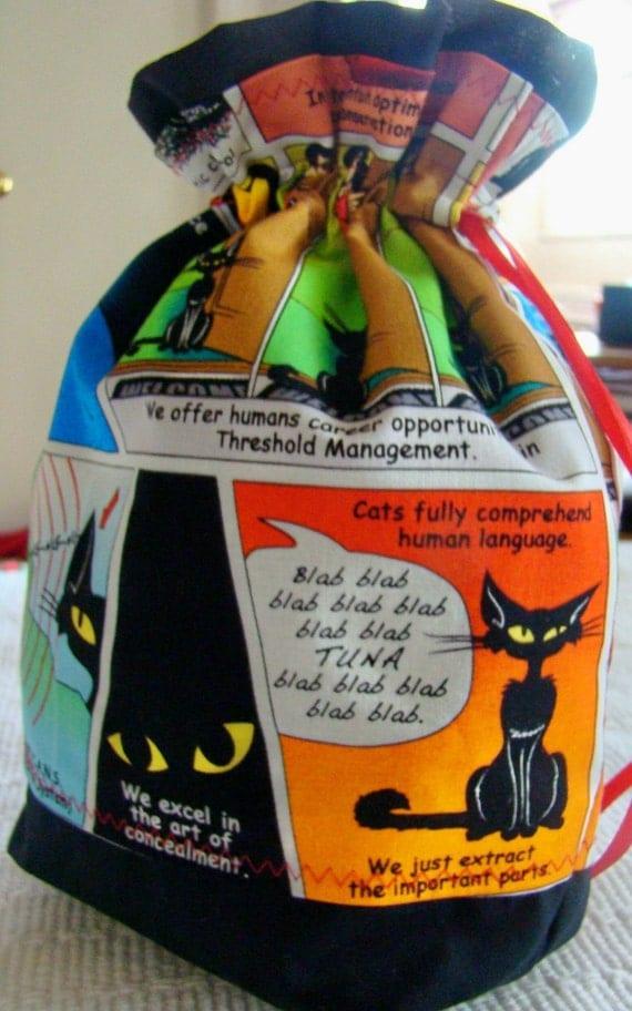 SKILLFUL CAT COMIC - WIP Project Bag - Michael Miller