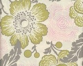 SALE...3 Yards Amy Butler Midwest Modern 2 Fresh Poppies  ab32 Linen Grey Pink Olive