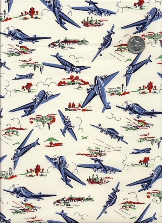 Items similar to wild blue yonder boys vintage style for Airplane fabric by the yard