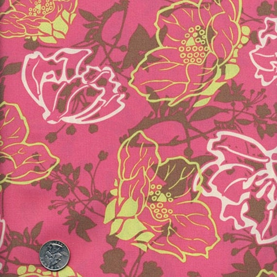1/2 Yard  Paradise - Morning Showers Pink Lime Grey Floral PA-207 Cotton  Quilt Fabric - Pat Bravo Art Gallery Fabrics