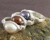 Pearly Gates Ring - sterling silver wire - genuine pearl bead - any size 2 3 4 5 6 7 8 9 10 11 12 13