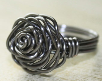 Steel Rose Ring - gray wire - rose design - any size 2 3 4 5 6 7 8 9 10 11 12 13
