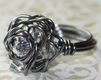 Steel Sparkle Ring - gray wire - clear Swarovski crystals - rose design - any size 2 3 4 5 6 7 8 9 10 11 12 13