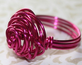 Pink Rose Ring - pink wire - rose design - any size 2 3 4 5 6 7 8 9 10 11 12 13