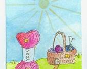 Knittingville -- ACEO ATC - Original Watercolor -- (Daystar) Katherine Kowalski painting