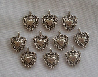 Hearts on Fire Charms- ten charms- antique silver charms