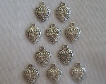 Double Love Heart Charms- ten charms- antique silver charms