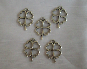 Large Open Four Leaf Clovers- Ten charms- antique silver charms