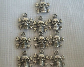 Skull and Crossbones Charms- ten charms- antique silver charms
