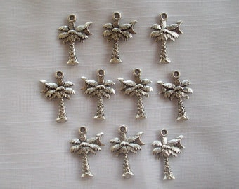 Palm Tree Charms- ten charms- antique silver charms