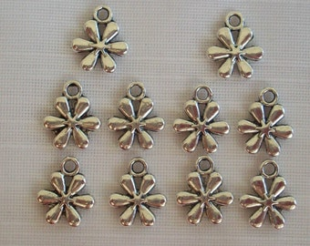 Daisy Charms- ten charms- antique silver charms