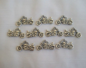 Motorcycle Charms- ten charms- antique silver charms