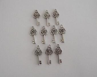 Skeleton Keys- ten charms-antique silver charms