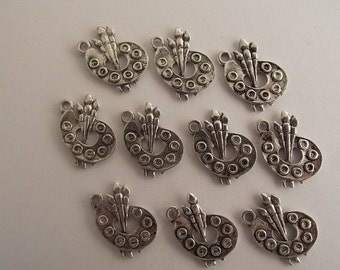 Artist Pallet Charms- ten charms- antique silver charms