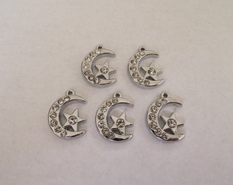 Moon and Star Rhinestone Charms- 5 charms- silver charms