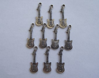 Electric or Bass Guitar Charms- ten charms- antique silver charms