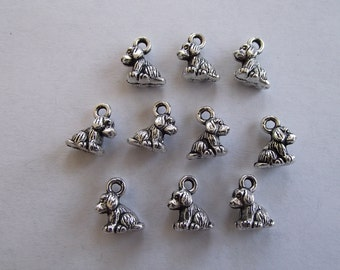 Tiny 3d Dog charms- ten charms- antique silver charms