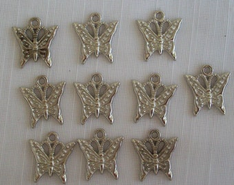 Sweet Butterfly Charms- ten charms- antique silver charms