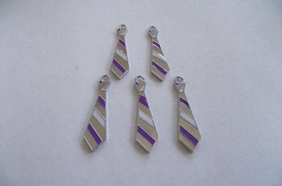 New Purple Tie Charms- 5 charms