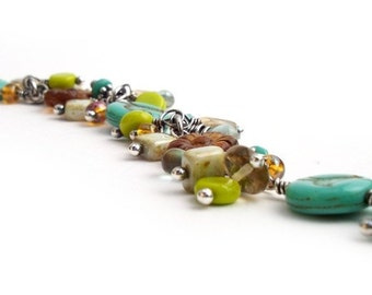 Blue Birds and Flowers, Aqua, Turquoise, Brown, Lime Drop Bracelet - FREE SHIP