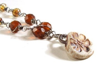 Clay Flower Pendant Brown Honey Glass Wire Wrapped Silver Necklace FREE SHIP