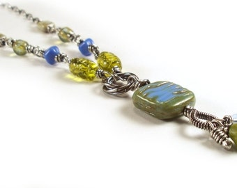 Spring Green and Sky Blue Glass Wire Wrapped Sterling Necklace FREE SHIP