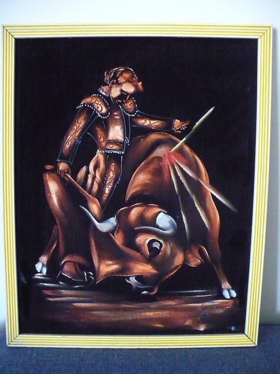 Vintage Framed Bull Fighting Painting On Black Velvet