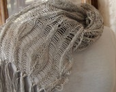 Instant Download pdf Hand Knitting Pattern  - Long Leaves Scarf