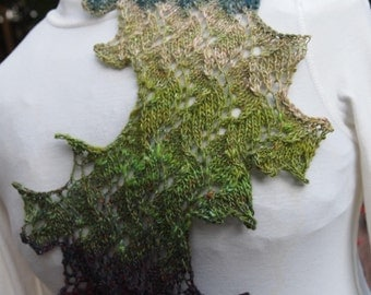 Frazzle PDF Knitting Scarf Pattern   Frazzled Waves of Color and Leaves