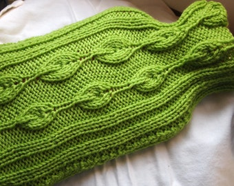 Instant Download pdf Hand Knitting Pattern  - Leafy Hot Water Bottle Sleeve