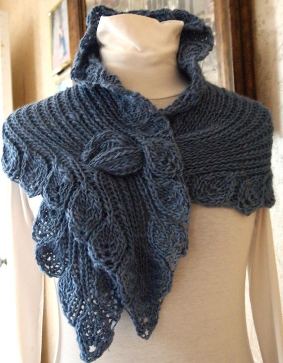 Free Knitting Pattern For Ruffled Shawl : knitting pattern lace knit cowl scarf pdf by KnitChicGrace on Etsy